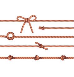 ropes knots horizontal set vector image