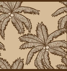 Seamless pattern beige color exotic palm tree vector