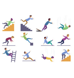 Set injuring people falling down stairs vector