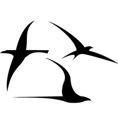 Set streamlined birds vector