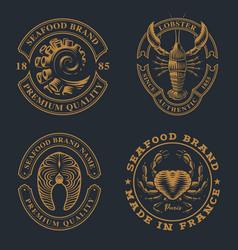 Set vintage badges for seafood theme vector