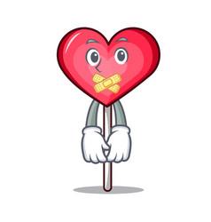 Silent heart lollipop mascot cartoon vector