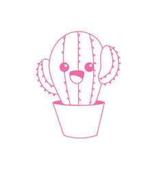 Silhouette kawaii cute tender cactus plant vector