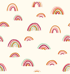 Skinny earthy rainbows allover vector