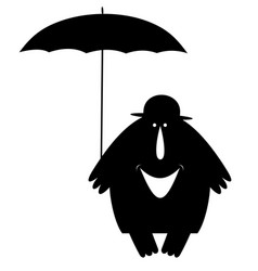 Smiling man in the bowler hat with umbrella vector