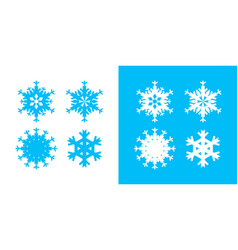 snowflake icon set white and blue color christmas vector image