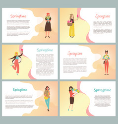 springtime posters women holding bouquets girls vector image