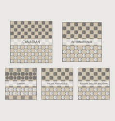 Starting positions in different types of draughts vector