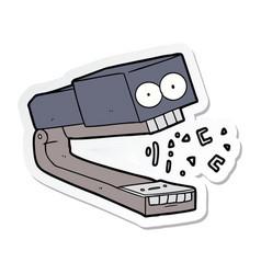 Sticker of a crazy cartoon stapler vector