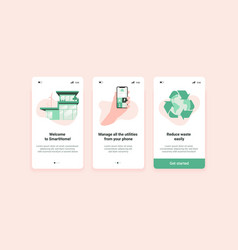 Sustainable home screens mobile application vector