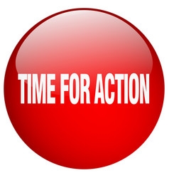Time for action red round gel isolated push button vector