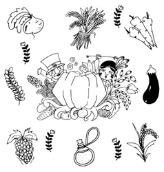 Vegetable in doodle art Thanksgiving vector