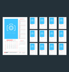 wall calendar template for 2021 year 12 pages vector image