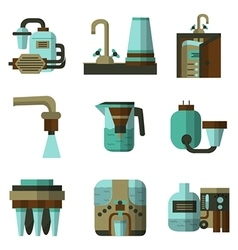 Water filters flat color icons vector image