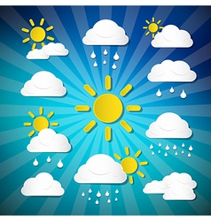 Weather Icons - Clouds Sun Rain on Retro Blue vector image