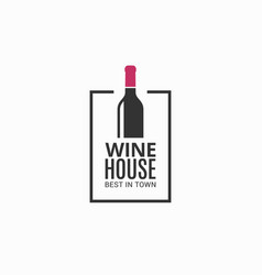 wine bottle logo winehouse icon on black vector image