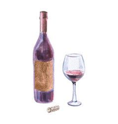 Wine bottle red wine wineglass and cork vector