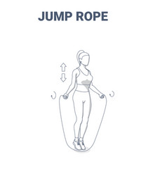 Woman doing jump rope exercise fitness home vector