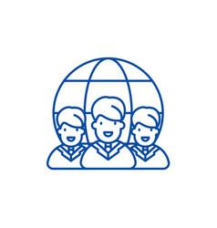 world market line icon concept world market flat vector image