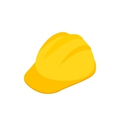 Yellow hardhat icon isometric 3d style vector image