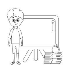 Young boy student school board vector