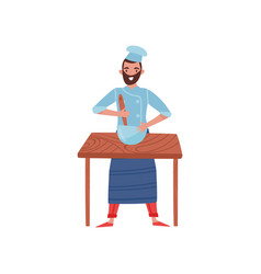 young man cooking food on wooden table bearded vector image