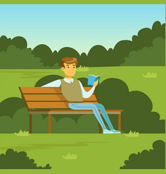 young man sitting on bench in park and vector image