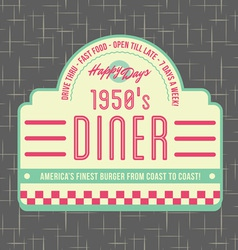 1950s Diner Style Logo Design vector image vector image