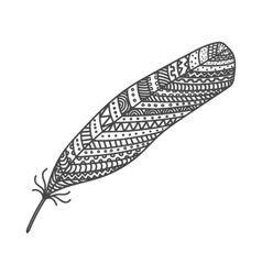Black hand drawn feather painted in boho style vector image vector image