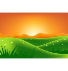 Green hills at sunset vector image