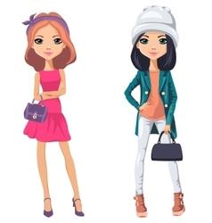 Beautiful fashion girls vector