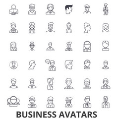 business avatars businessman businesswoman team vector image