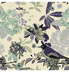 Silk flowers and birds seamless pattern vector image vector image