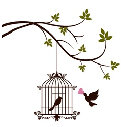 bird are bringing love to the bird in the cage vector image