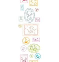 Family framed pictures vertical seamless pattern vector image