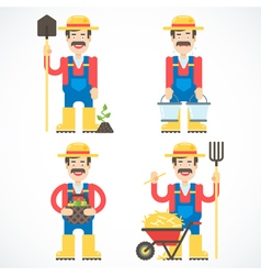 Funny Farmer Characters Set vector image vector image