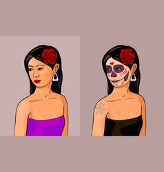 girl with calavera makeup vector image