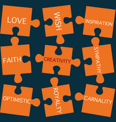 jigsaw puzzle pieces with words on the topic of cr vector image vector image