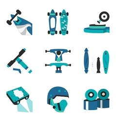 Longboard elements flat color icons vector image vector image