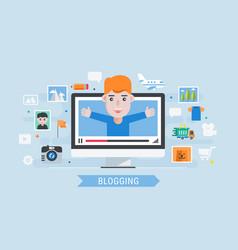 man blogger vector image