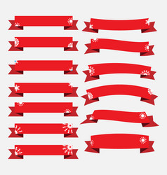 red christmas ribbon banners with snowflakes set vector image vector image
