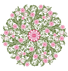 round vintage floral pattern vector image vector image