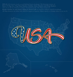 USA flag caligraphic text over map vector image vector image