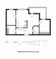 Architect plan with a furniture Flat Design vector image vector image