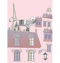 Cat on a Roof of Paris vector image