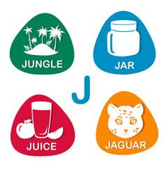 cute alphabet in j letter for jungle jar vector image