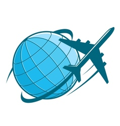 Fast airplane flying around earth vector image