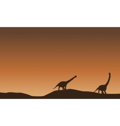 Scenery of argentinosaurus on the hill vector image
