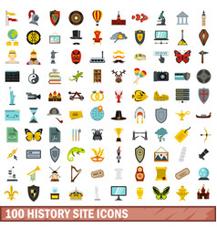 100 history site icons set flat style vector