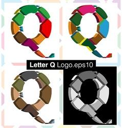 3d font letter Q vector